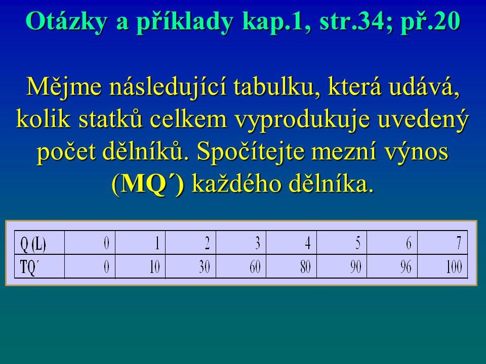 Otázky a příklady kap.1, str.34; př.20 Mějme následující tabulku, která udává, kolik statků celkem vyprodukuje uvedený počet dělníků. Spočítejte mezní