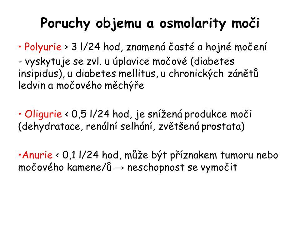 Poruchy objemu a osmolarity moči Polyurie > 3 l/24 hod, znamená časté a hojné močení - vyskytuje se zvl. u úplavice močové (diabetes insipidus), u dia