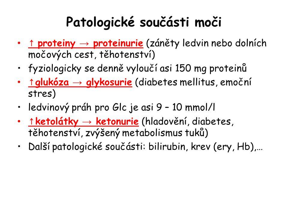 Patologické součásti moči ↑ proteiny → proteinurie (záněty ledvin nebo dolních močových cest, těhotenství) fyziologicky se denně vyloučí asi 150 mg pr