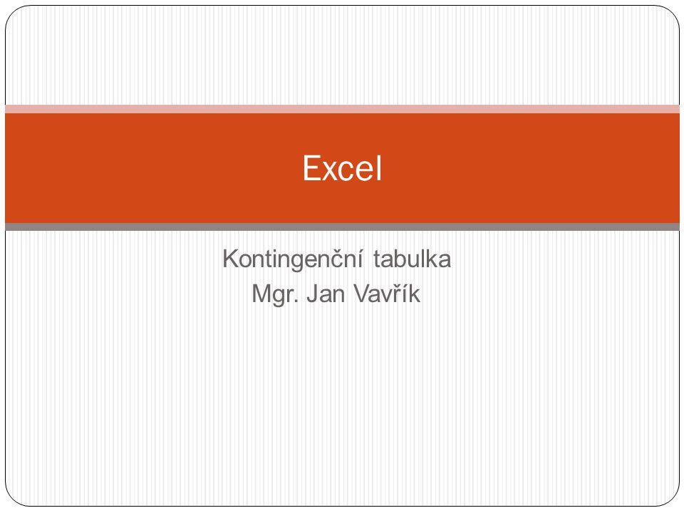 Kontingenční tabulka Mgr. Jan Vavřík Excel