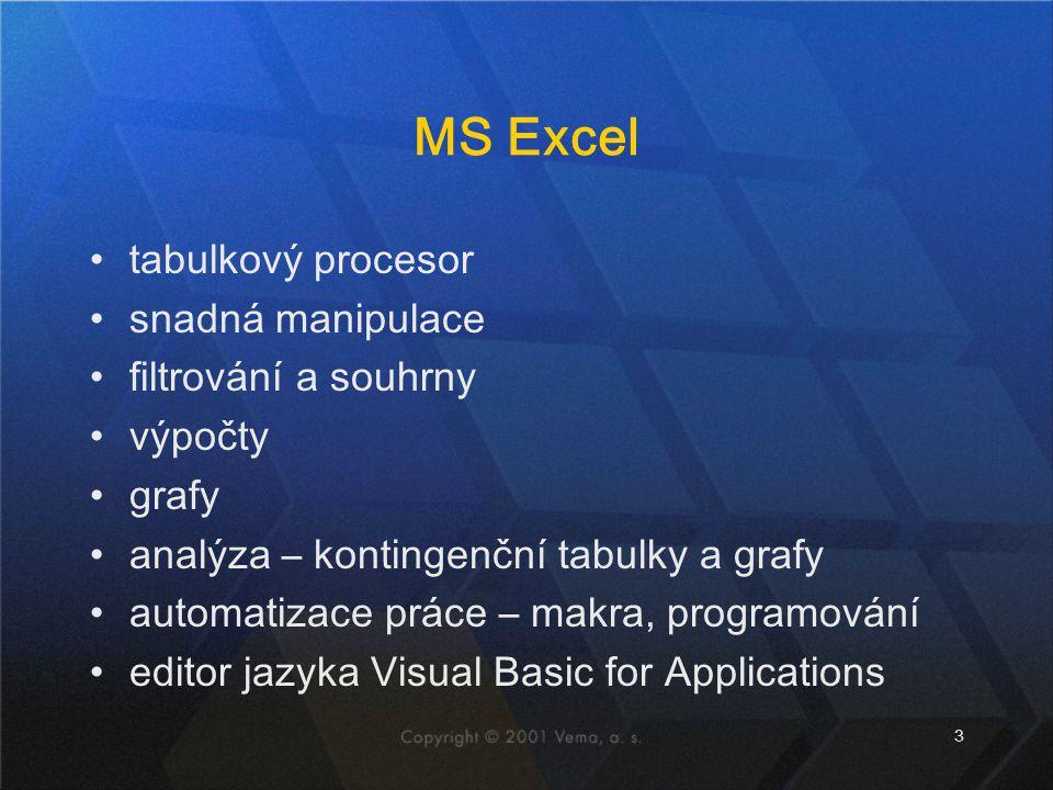 3 MS Excel tabulkový procesor snadná manipulace filtrování a souhrny výpočty grafy analýza – kontingenční tabulky a grafy automatizace práce – makra,