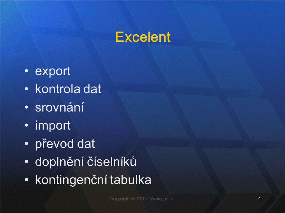 4 Excelent export kontrola dat srovnání import převod dat doplnění číselníků kontingenční tabulka