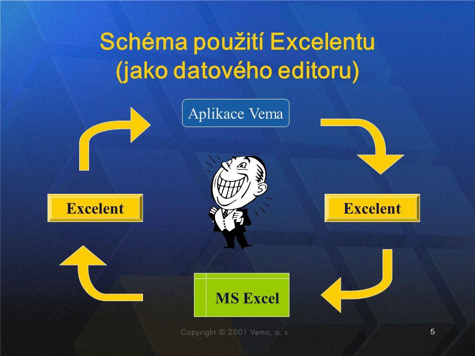 5 Schéma použití Excelentu (jako datového editoru) Aplikace Vema Excelent MS Excel Excelent