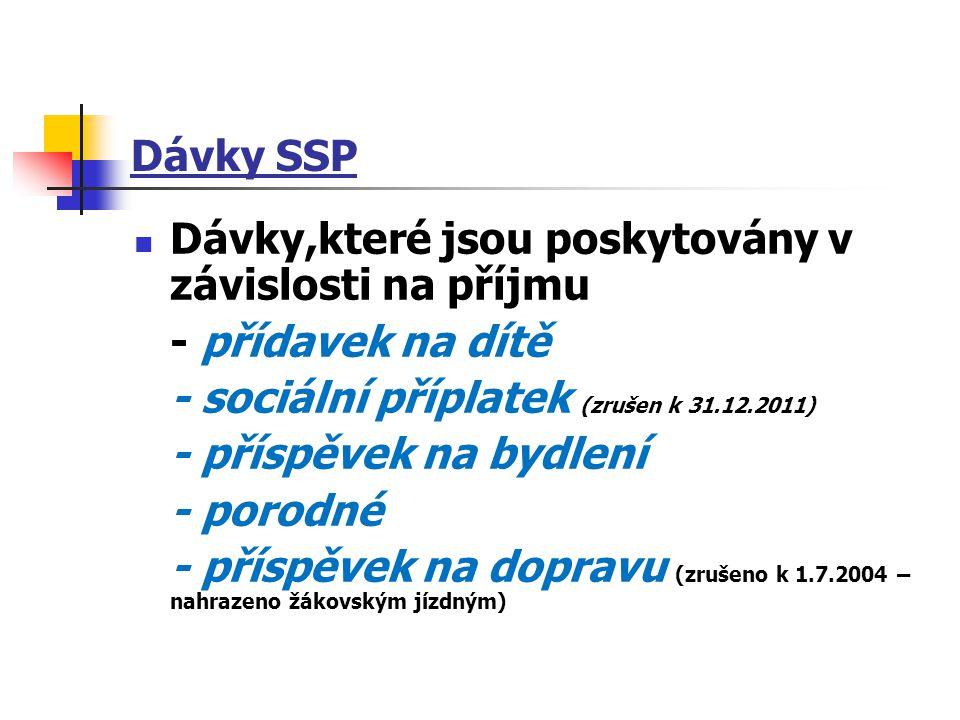 Dávky SSP Dávky,které jsou poskytovány v závislosti na příjmu - přídavek na dítě - sociální příplatek (zrušen k 31.12.2011) - příspěvek na bydlení - p