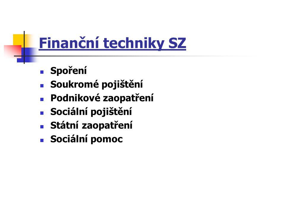 Finanční techniky SZ Spoření Soukromé pojištění Podnikové zaopatření Sociální pojištění Státní zaopatření Sociální pomoc
