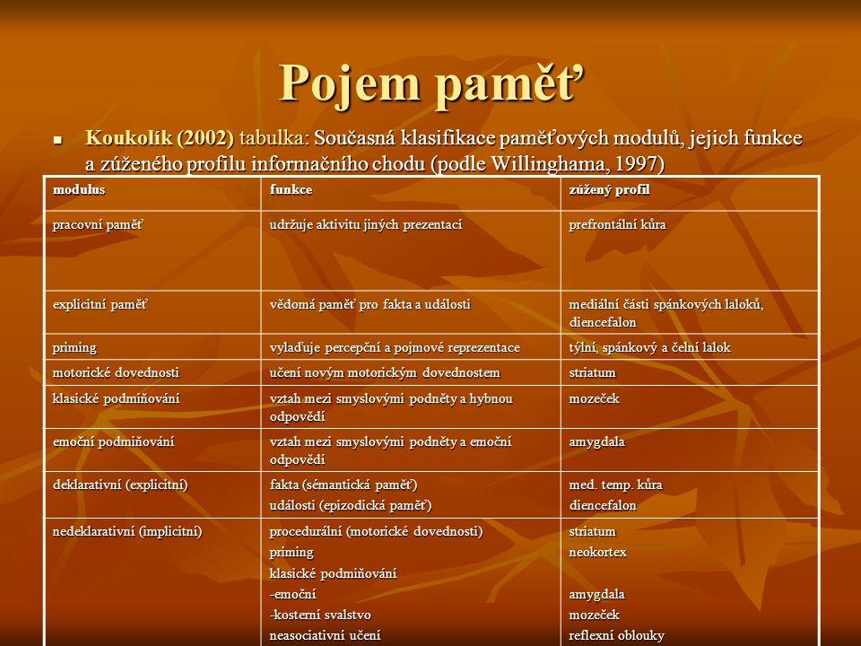 Pojem paměť Koukolík (2002) tabulka: Současná klasifikace paměťových modulů, jejich funkce a zúženého profilu informačního chodu (podle Willinghama, 1