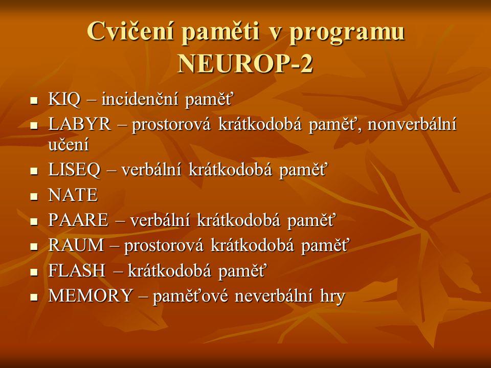 Cvičení paměti v programu NEUROP-2 KIQ – incidenční paměť KIQ – incidenční paměť LABYR – prostorová krátkodobá paměť, nonverbální učení LABYR – prostorová krátkodobá paměť, nonverbální učení LISEQ – verbální krátkodobá paměť LISEQ – verbální krátkodobá paměť NATE NATE PAARE – verbální krátkodobá paměť PAARE – verbální krátkodobá paměť RAUM – prostorová krátkodobá paměť RAUM – prostorová krátkodobá paměť FLASH – krátkodobá paměť FLASH – krátkodobá paměť MEMORY – paměťové neverbální hry MEMORY – paměťové neverbální hry