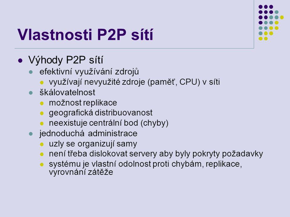 Vlastnosti P2P sítí Výhody P2P sítí efektivní využívání zdrojů využívají nevyužité zdroje (paměť, CPU) v síti škálovatelnost možnost replikace geograf