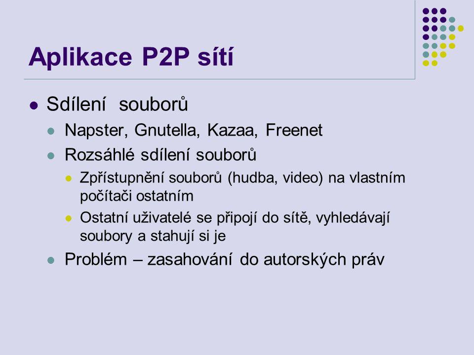 Aplikace P2P sítí Sdílení souborů Napster, Gnutella, Kazaa, Freenet Rozsáhlé sdílení souborů Zpřístupnění souborů (hudba, video) na vlastním počítači