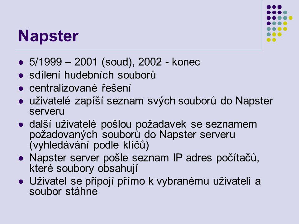 Napster 5/1999 – 2001 (soud), 2002 - konec sdílení hudebních souborů centralizované řešení uživatelé zapíší seznam svých souborů do Napster serveru da