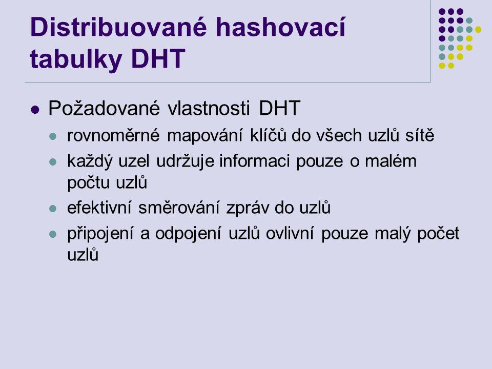 Distribuované hashovací tabulky DHT Požadované vlastnosti DHT rovnoměrné mapování klíčů do všech uzlů sítě každý uzel udržuje informaci pouze o malém