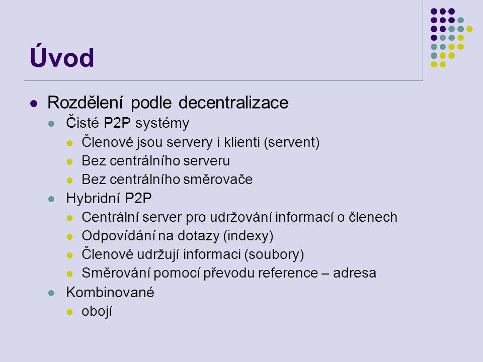 Úvod Rozdělení podle decentralizace Čisté P2P systémy Členové jsou servery i klienti (servent) Bez centrálního serveru Bez centrálního směrovače Hybri