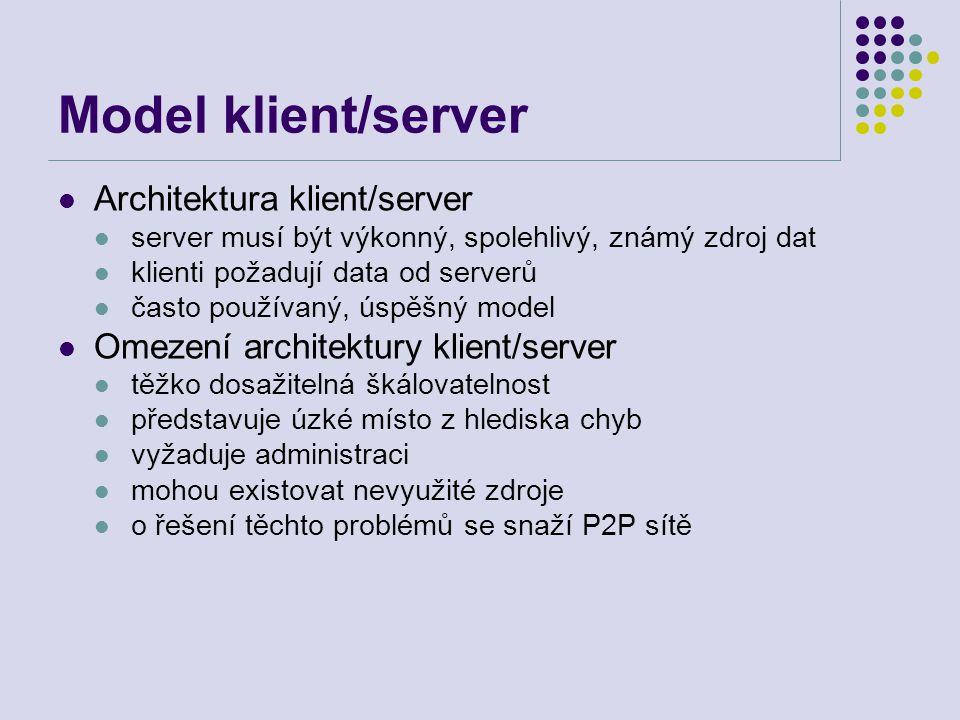 Model peer-to-peer P2P počítání P2P počítání je sdílení výpočetních zdrojů a služeb přímou výměnou mezi systémy Tyto zdroje a služby zahrnují výměnu informace, cykly zpracování, vyrovnávací paměti a diskové paměti pro ukládání souborů P2P počítání využívá existujících výpočetních zdrojů, pamětí, propojení počítačů a dovoluje uživatelům využívat společný výpočetní výkon ku prospěchu všech