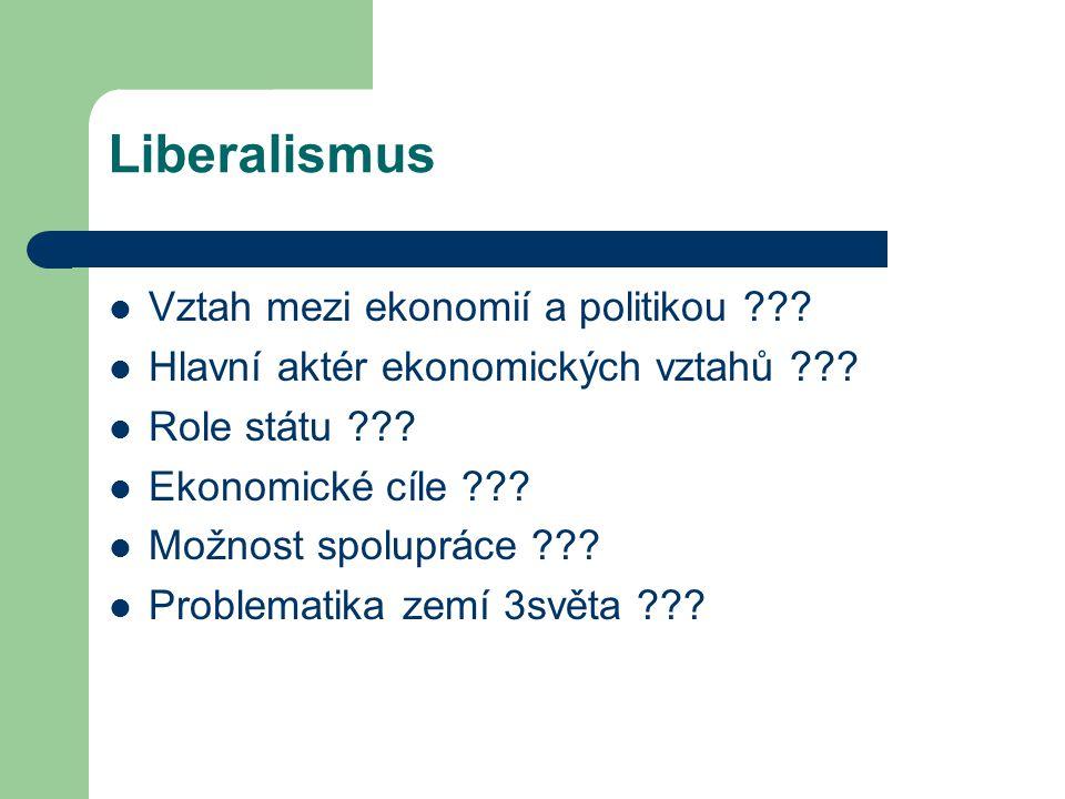 Liberalismus Vztah mezi ekonomií a politikou ??? Hlavní aktér ekonomických vztahů ??? Role státu ??? Ekonomické cíle ??? Možnost spolupráce ??? Proble