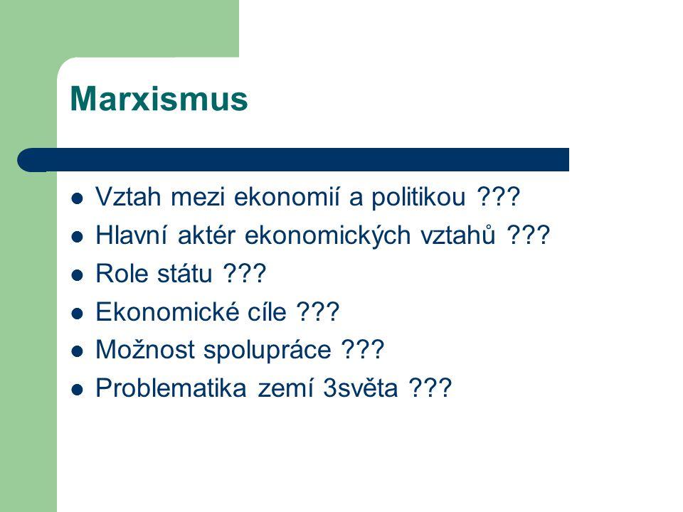 Marxismus Vztah mezi ekonomií a politikou ??? Hlavní aktér ekonomických vztahů ??? Role státu ??? Ekonomické cíle ??? Možnost spolupráce ??? Problemat