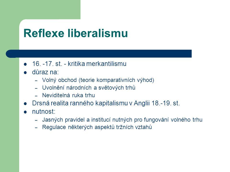 Reflexe liberalismu 16. -17. st. - kritika merkantilismu důraz na: – Volný obchod (teorie komparativních výhod) – Uvolnění národních a světových trhů