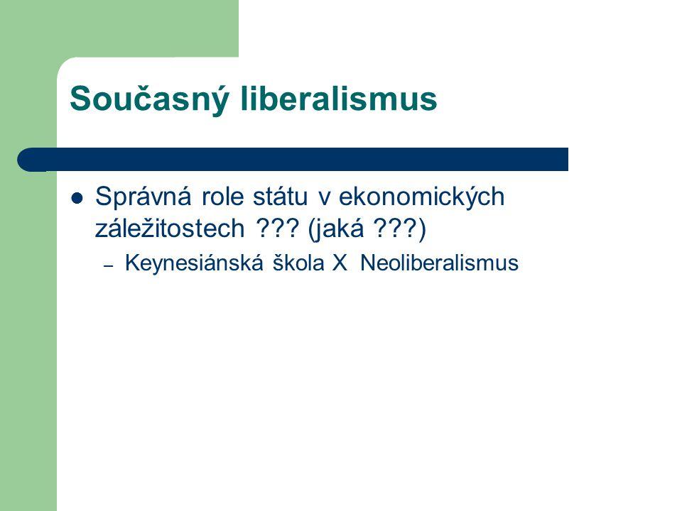 Současný liberalismus Správná role státu v ekonomických záležitostech ??? (jaká ???) – Keynesiánská škola X Neoliberalismus