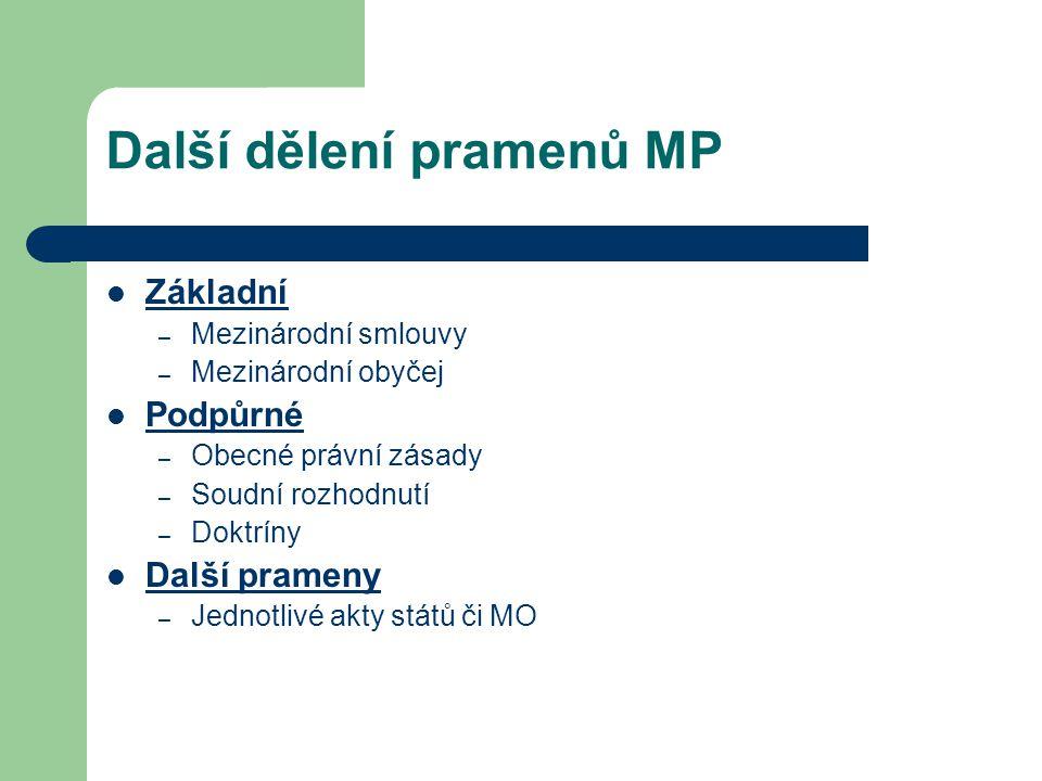 Další dělení pramenů MP Základní – Mezinárodní smlouvy – Mezinárodní obyčej Podpůrné – Obecné právní zásady – Soudní rozhodnutí – Doktríny Další prame