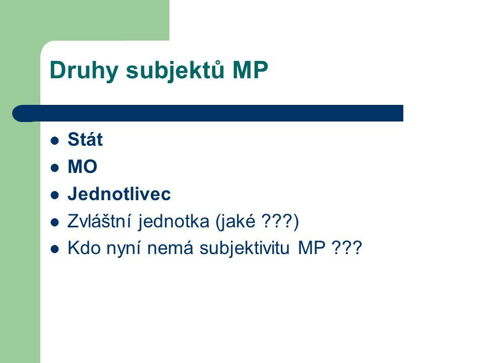 Druhy subjektů MP Stát MO Jednotlivec Zvláštní jednotka (jaké ???) Kdo nyní nemá subjektivitu MP ???