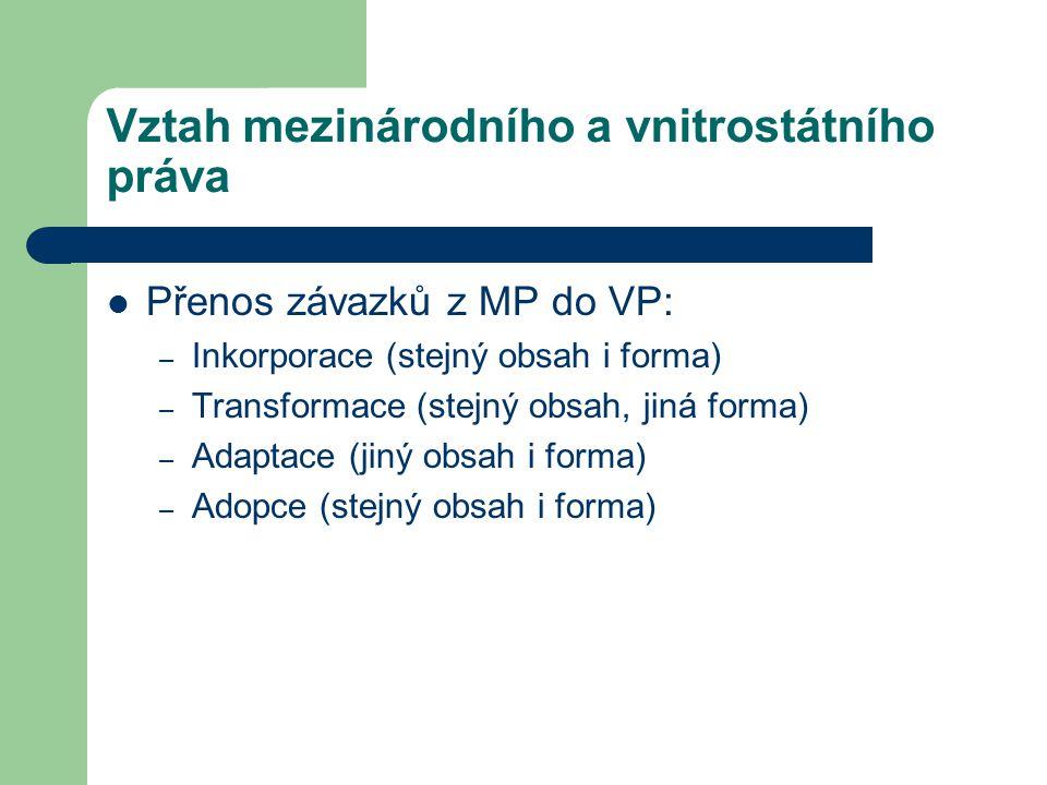 Vztah mezinárodního a vnitrostátního práva Přenos závazků z MP do VP: – Inkorporace (stejný obsah i forma) – Transformace (stejný obsah, jiná forma) –