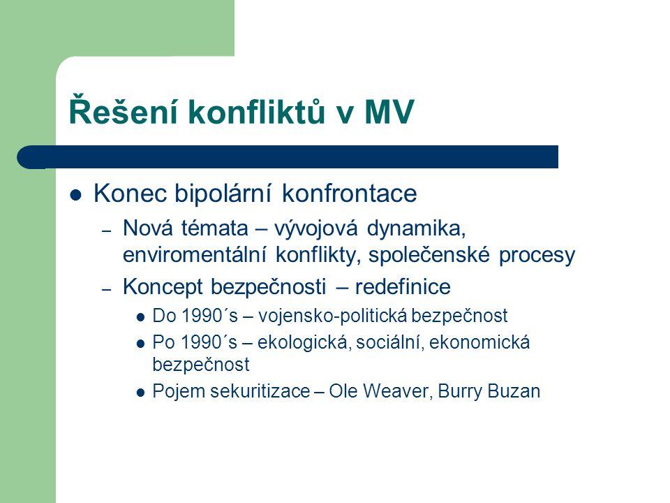 Řešení konfliktů v MV Konec bipolární konfrontace – Nová témata – vývojová dynamika, enviromentální konflikty, společenské procesy – Koncept bezpečnos