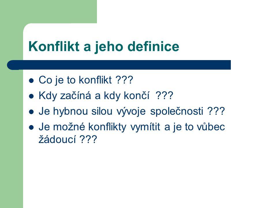 Konflikt a jeho definice Co je to konflikt ??? Kdy začíná a kdy končí ??? Je hybnou silou vývoje společnosti ??? Je možné konflikty vymítit a je to vů