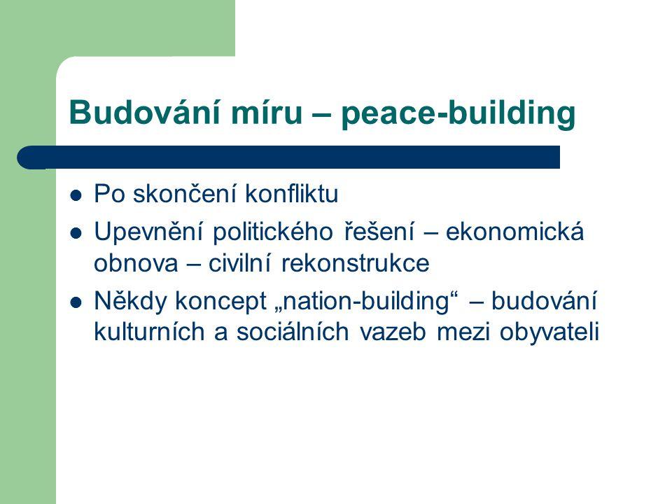 """Budování míru – peace-building Po skončení konfliktu Upevnění politického řešení – ekonomická obnova – civilní rekonstrukce Někdy koncept """"nation-buil"""