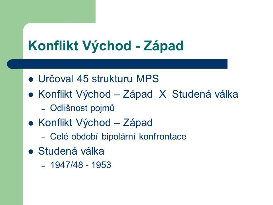 Konflikt Východ - Západ Určoval 45 strukturu MPS Konflikt Východ – Západ X Studená válka – Odlišnost pojmů Konflikt Východ – Západ – Celé období bipol