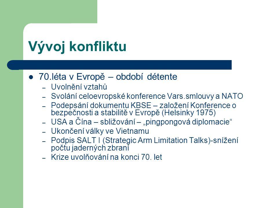 Vývoj konfliktu 70.léta v Evropě – období détente – Uvolnění vztahů – Svolání celoevropské konference Vars.smlouvy a NATO – Podepsání dokumentu KBSE –