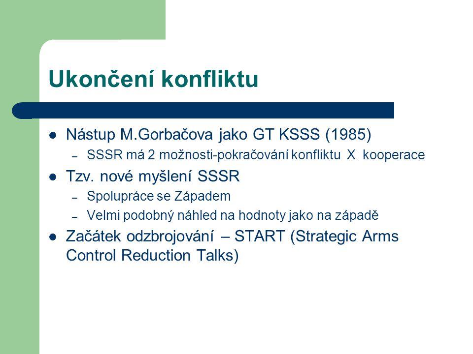 Ukončení konfliktu Nástup M.Gorbačova jako GT KSSS (1985) – SSSR má 2 možnosti-pokračování konfliktu X kooperace Tzv. nové myšlení SSSR – Spolupráce s