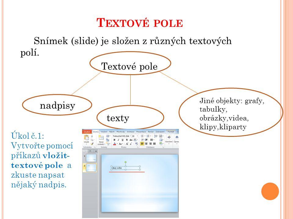 T EXTOVÉ POLE Snímek (slide) je složen z různých textových polí. Textové pole nadpisy texty Jiné objekty: grafy, tabulky, obrázky,videa, klipy,klipart