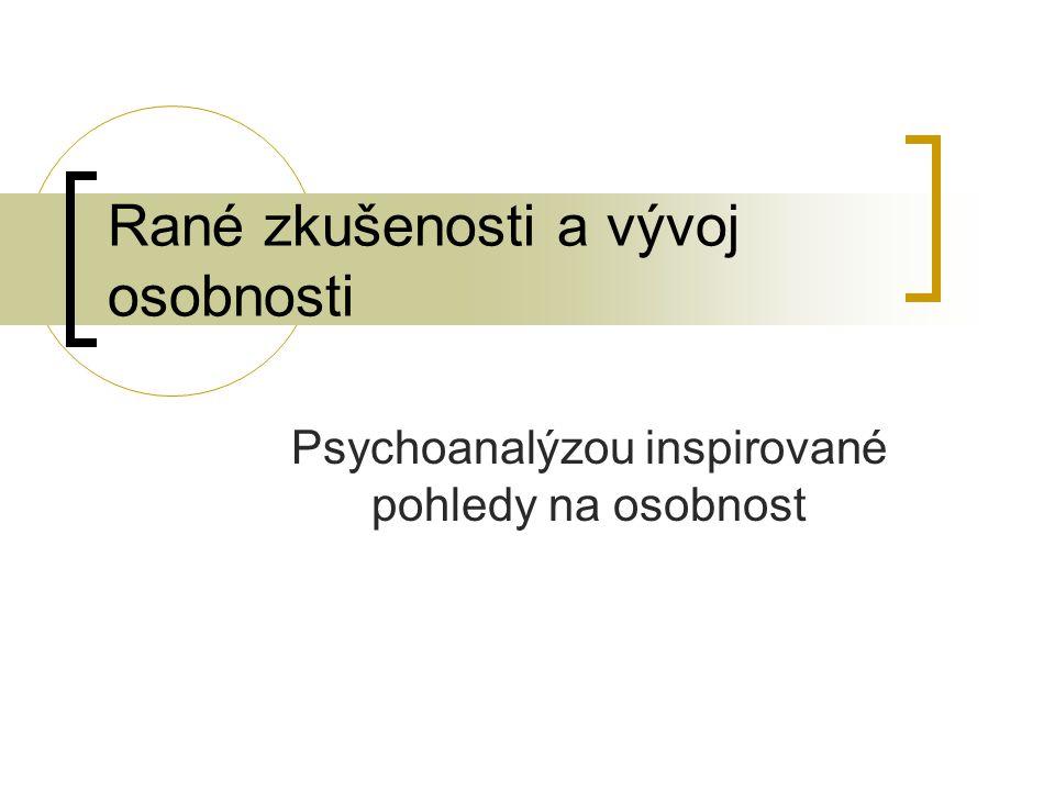 Psychoanalytická teorie osobnosti Velmi komplexní - 6 perspektiv: topografická rovina – vědomé a nevědomé fungování dynamická rovina – interakce psychických sil genetická rovina: původ a vývoj psychiky ekonomická rovina – distribuce, transformace a výdej energie strukturální rovina – trvalé funkční jednotky: id, ego a superego rovina adaptace: vrozená připravenost jedince účastnit se interakcí s řadou normálních a předpověditelných vlivů z prostředí