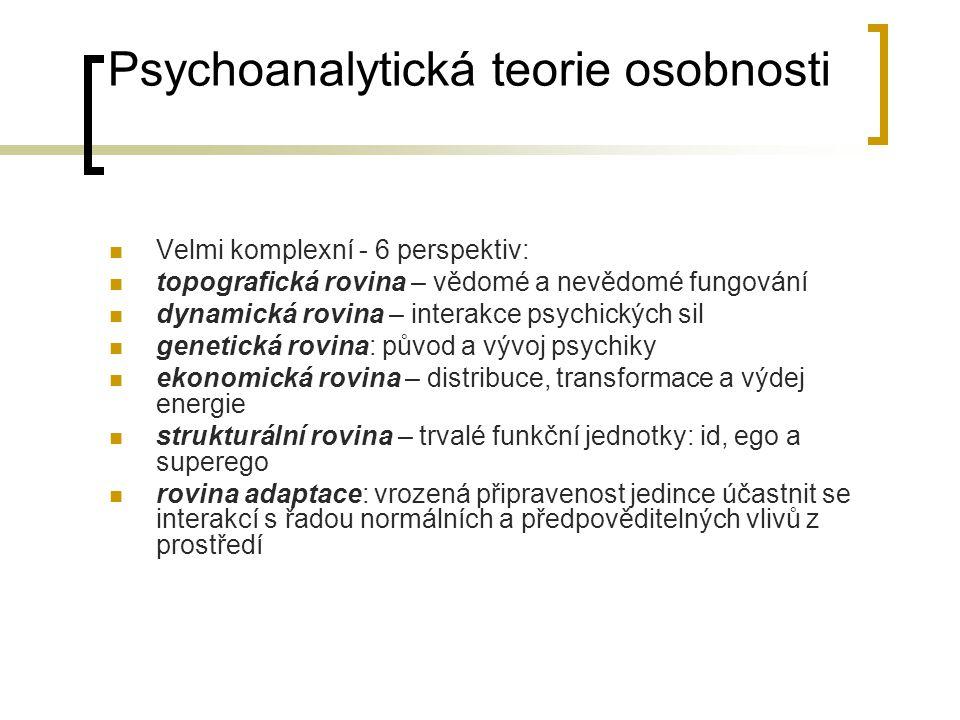 Psychoanalytická teorie osobnosti Velmi komplexní - 6 perspektiv: topografická rovina – vědomé a nevědomé fungování dynamická rovina – interakce psych