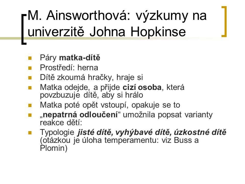 M. Ainsworthová: výzkumy na univerzitě Johna Hopkinse Páry matka-dítě Prostředí: herna Dítě zkoumá hračky, hraje si Matka odejde, a přijde cizí osoba,