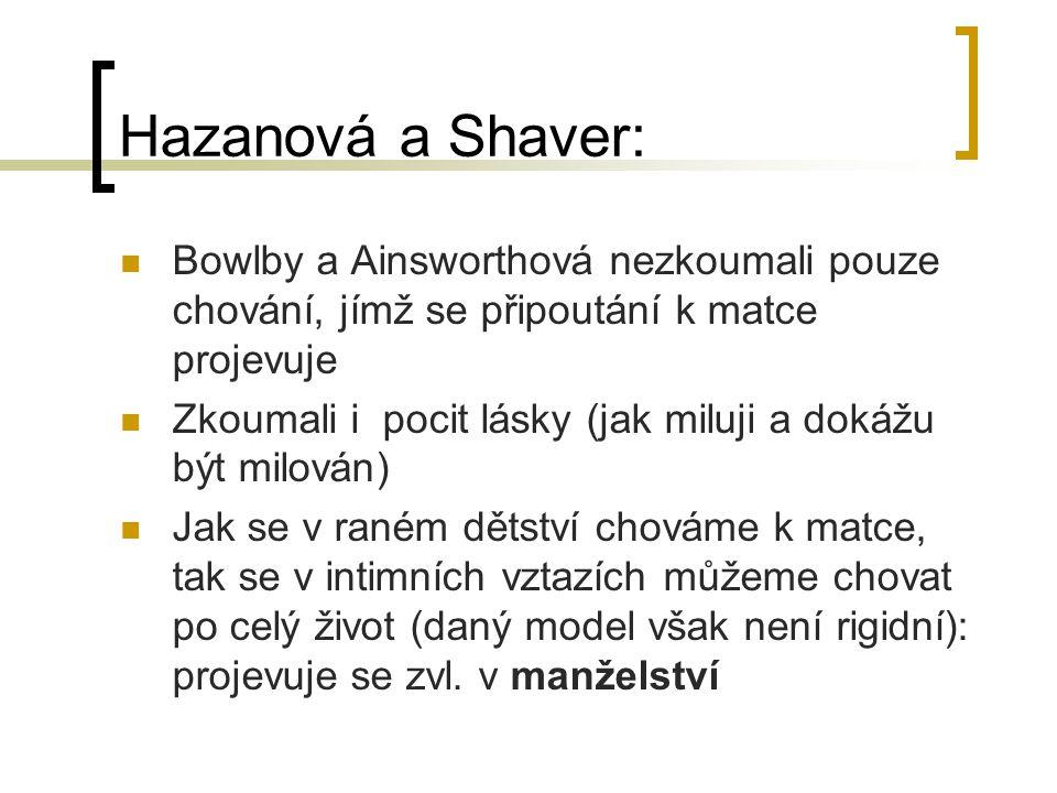 Hazanová a Shaver: Bowlby a Ainsworthová nezkoumali pouze chování, jímž se připoutání k matce projevuje Zkoumali i pocit lásky (jak miluji a dokážu bý