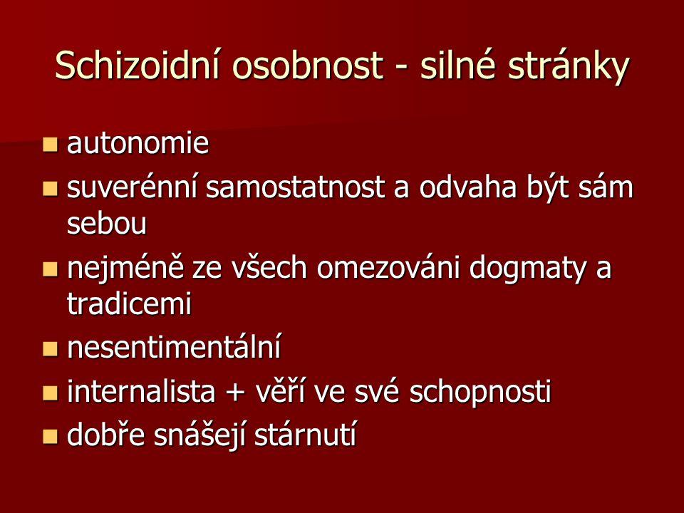 Schizoidní osobnost - silné stránky autonomie autonomie suverénní samostatnost a odvaha být sám sebou suverénní samostatnost a odvaha být sám sebou ne