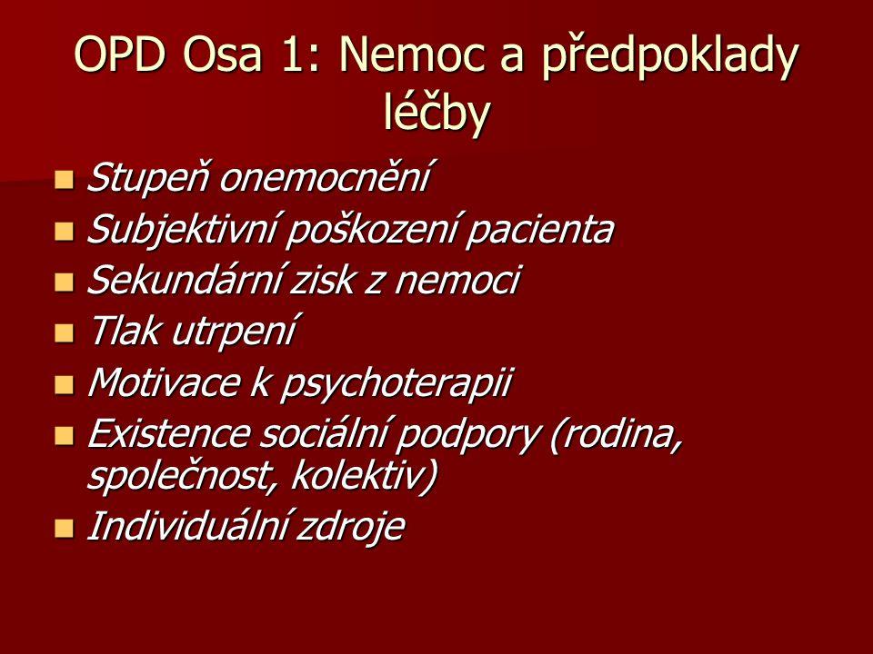 OPD Osa 1: Nemoc a předpoklady léčby Stupeň onemocnění Stupeň onemocnění Subjektivní poškození pacienta Subjektivní poškození pacienta Sekundární zisk