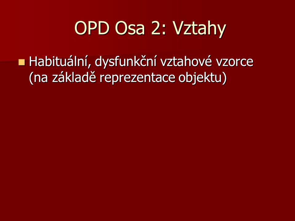 OPD Osa 2: Vztahy OPD Osa 2: Vztahy Habituální, dysfunkční vztahové vzorce (na základě reprezentace objektu) Habituální, dysfunkční vztahové vzorce (n