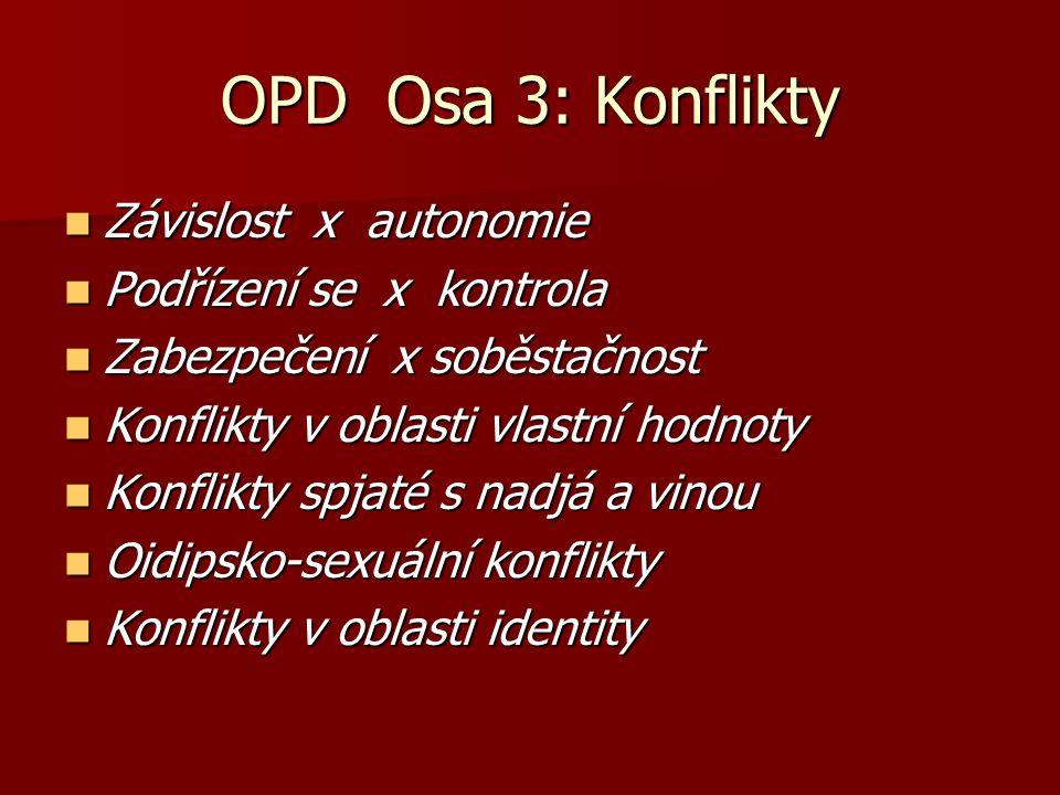 OPD Osa 3: Konflikty Závislost x autonomie Závislost x autonomie Podřízení se x kontrola Podřízení se x kontrola Zabezpečení x soběstačnost Zabezpečen