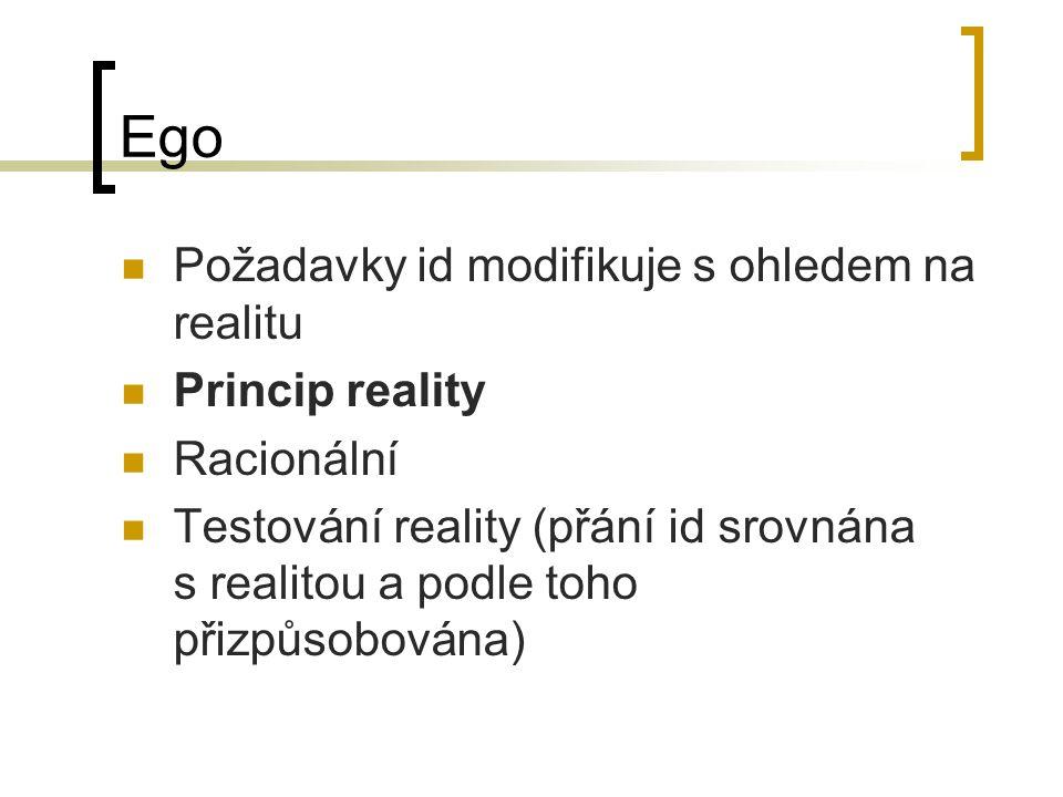 Ego Požadavky id modifikuje s ohledem na realitu Princip reality Racionální Testování reality (přání id srovnána s realitou a podle toho přizpůsobován