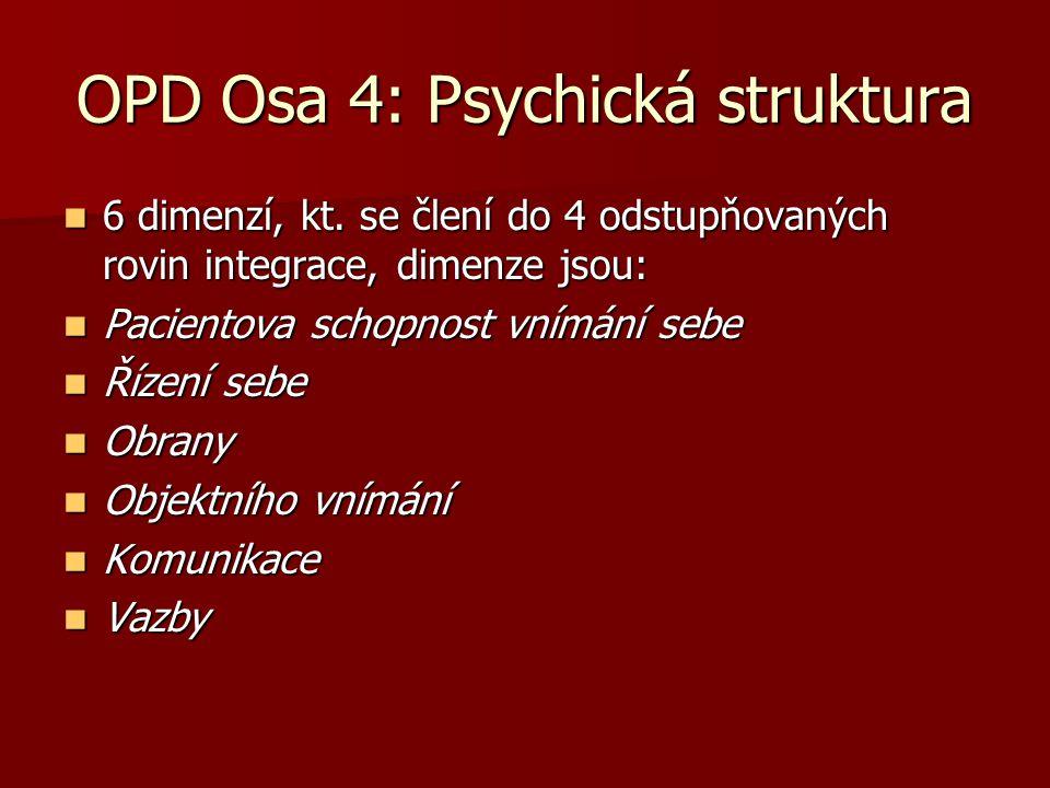 OPD Osa 4: Psychická struktura 6 dimenzí, kt. se člení do 4 odstupňovaných rovin integrace, dimenze jsou: 6 dimenzí, kt. se člení do 4 odstupňovaných