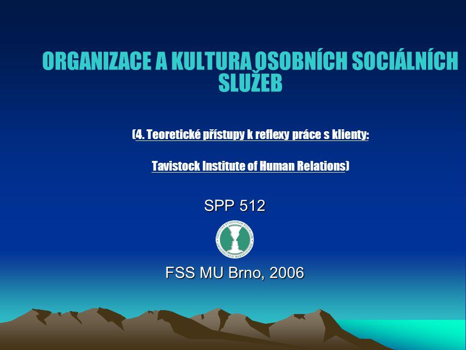 ORGANIZACE A KULTURA OSOBNÍCH SOCIÁLNÍCH SLUŽEB (4.