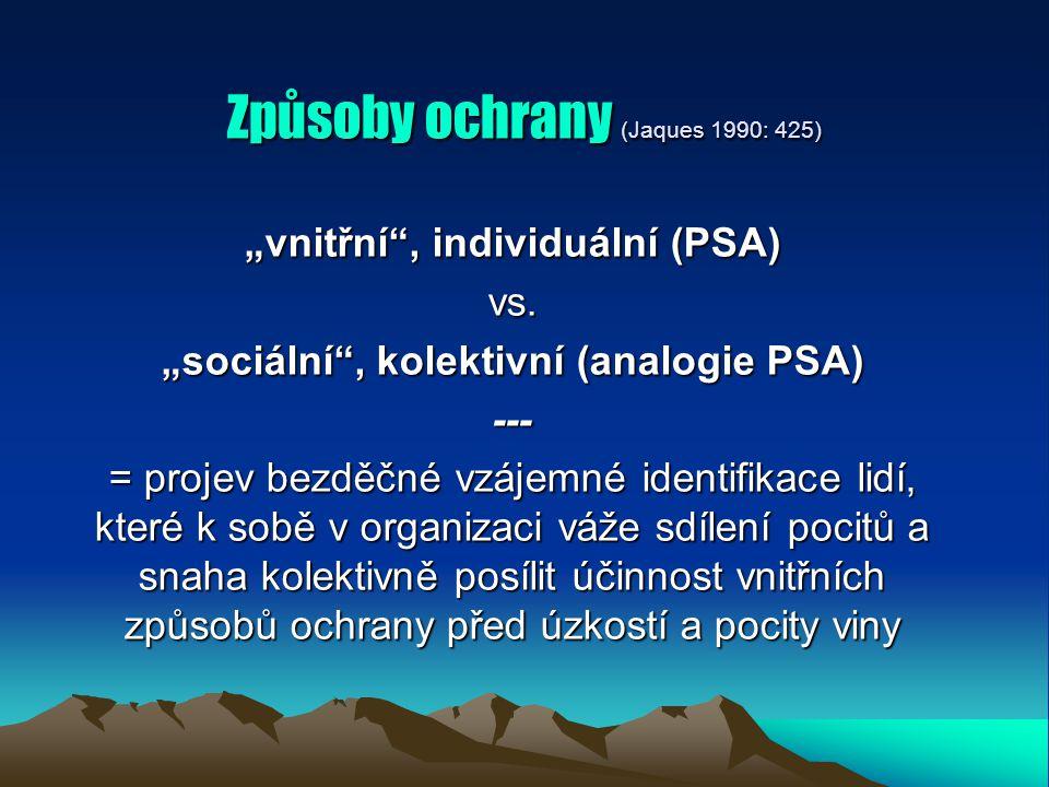 """Způsoby ochrany (Jaques 1990: 425) """"vnitřní , individuální (PSA) vs."""