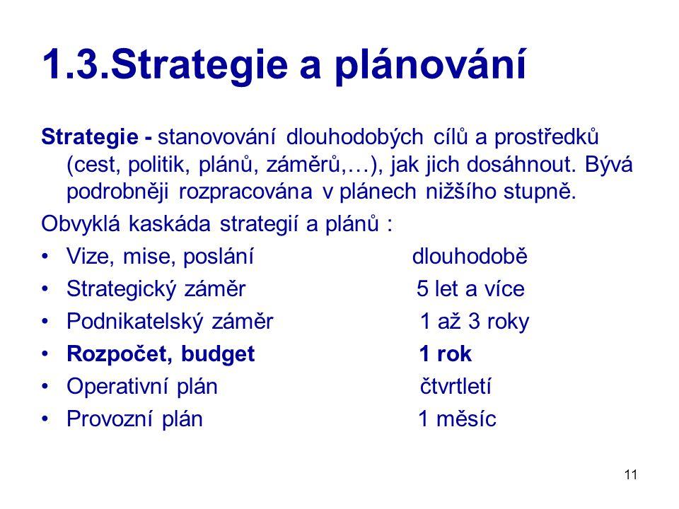 11 1.3.Strategie a plánování Strategie - stanovování dlouhodobých cílů a prostředků (cest, politik, plánů, záměrů,…), jak jich dosáhnout.