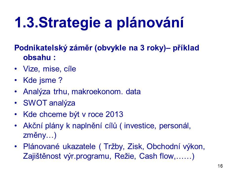 16 1.3.Strategie a plánování Podnikatelský záměr (obvykle na 3 roky)– příklad obsahu : Vize, mise, cíle Kde jsme .