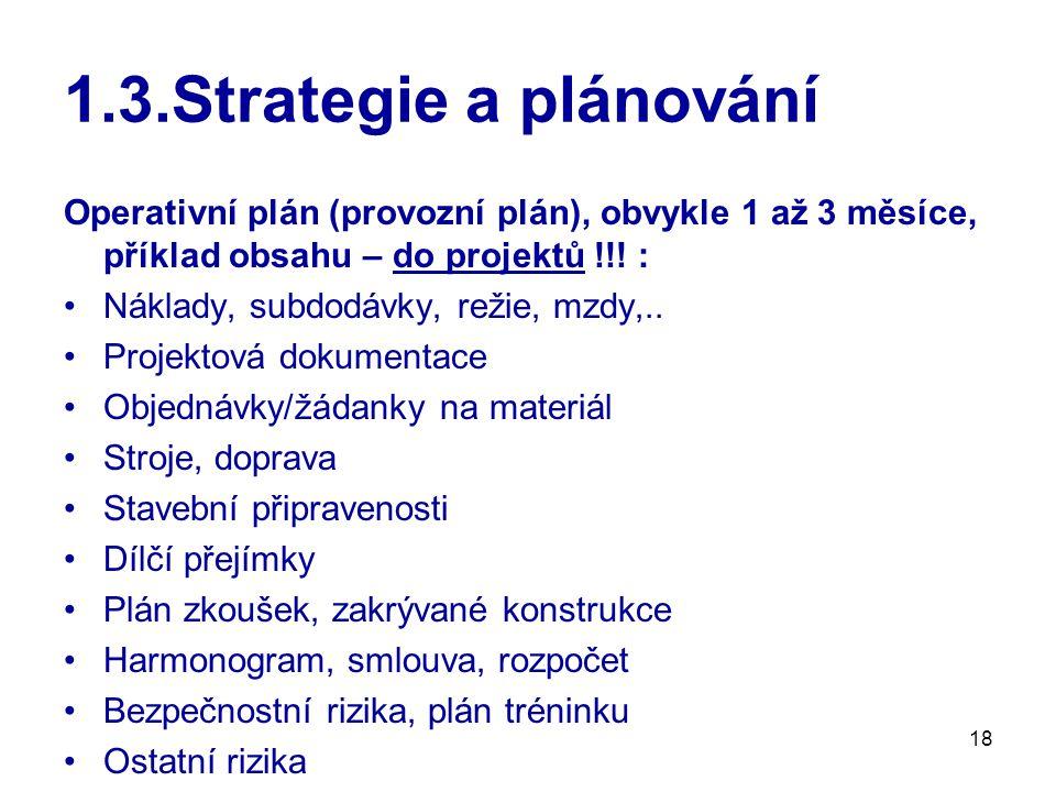 18 1.3.Strategie a plánování Operativní plán (provozní plán), obvykle 1 až 3 měsíce, příklad obsahu – do projektů !!.