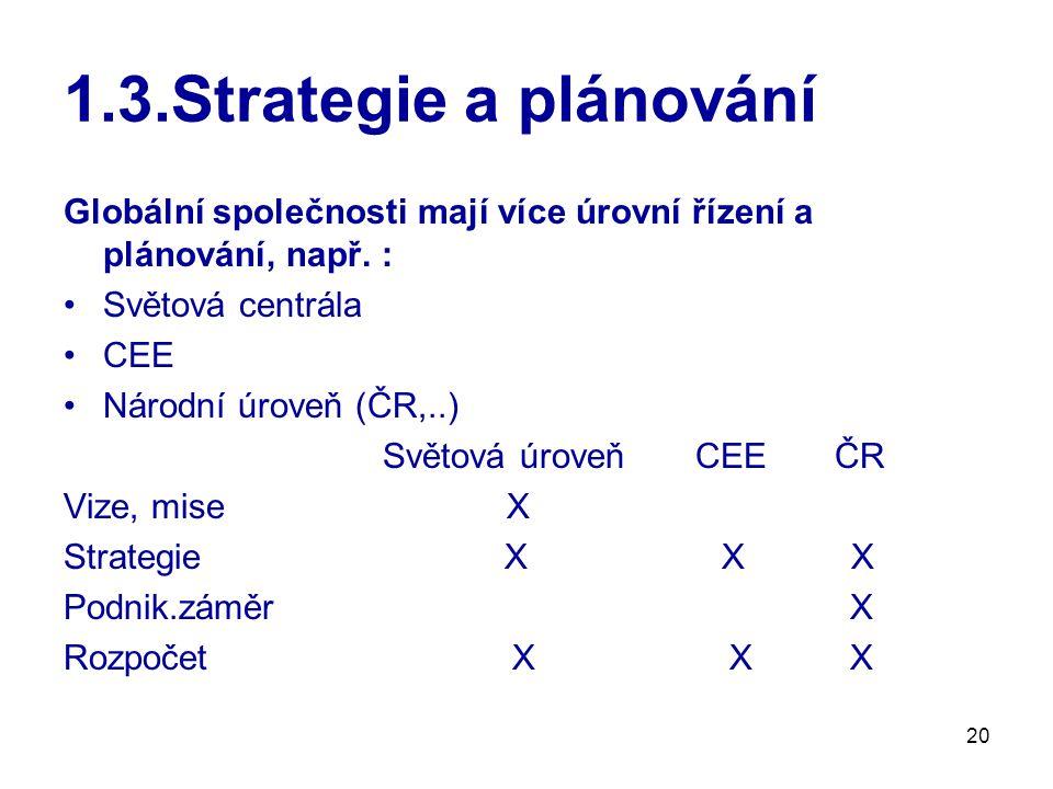 20 1.3.Strategie a plánování Globální společnosti mají více úrovní řízení a plánování, např.