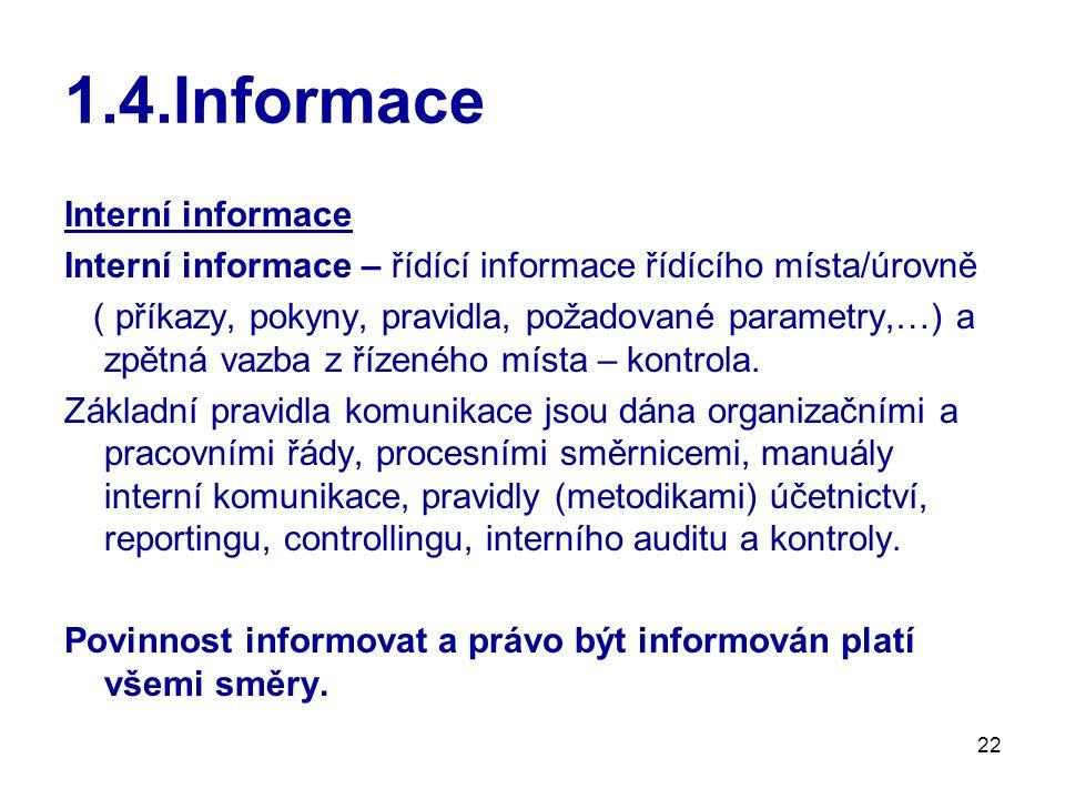 22 1.4.Informace Interní informace Interní informace – řídící informace řídícího místa/úrovně ( příkazy, pokyny, pravidla, požadované parametry,…) a zpětná vazba z řízeného místa – kontrola.