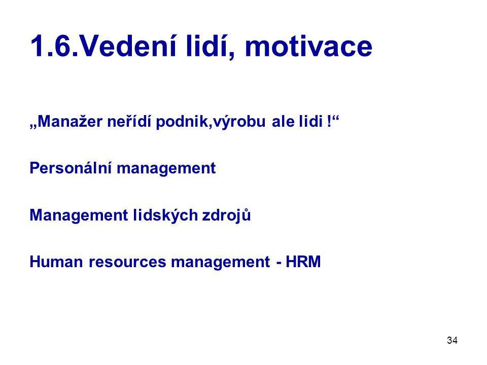 """34 1.6.Vedení lidí, motivace """"Manažer neřídí podnik,výrobu ale lidi ! Personální management Management lidských zdrojů Human resources management - HRM"""