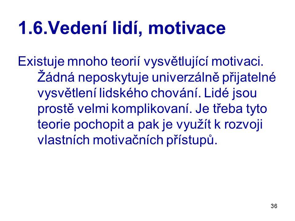 36 1.6.Vedení lidí, motivace Existuje mnoho teorií vysvětlující motivaci.